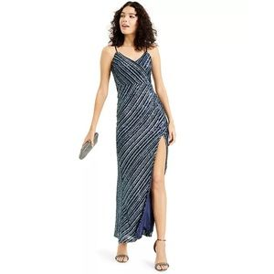 Trixxi Sequinned High-Slit Gown